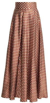 Diane von Furstenberg Baker Polka Dot Silk Skirt - Womens - Brown White