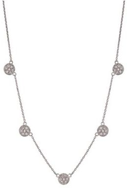 Lord & Taylor Diamond Station Necklace in 14 Kt. White Gold