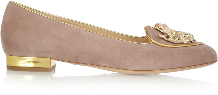 Charlotte Olympia Virgo Suede Slippers