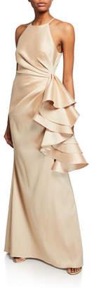 Badgley Mischka Mikado Shirred-Bodice Side-Ruffle Halter Gown