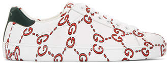 Gucci White Web Logo New Ace Sneakers