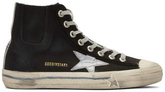 Golden Goose Black and Silver Scotch Tape V-Star High-Top Sneakers