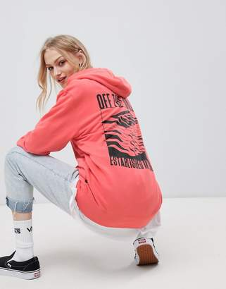 Vans Bright Coral Stacked Back Print Hoodie