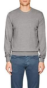 Luciano Barbera Men's Herringbone Wool Sweater - Gray