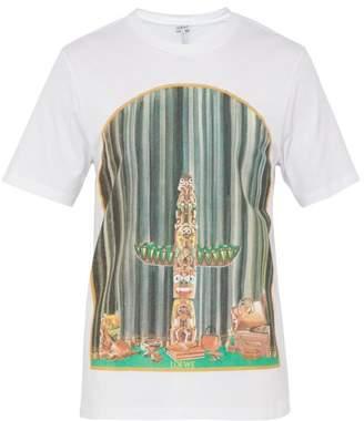 Loewe Window Totem Cotton Jersey T Shirt - Mens - White