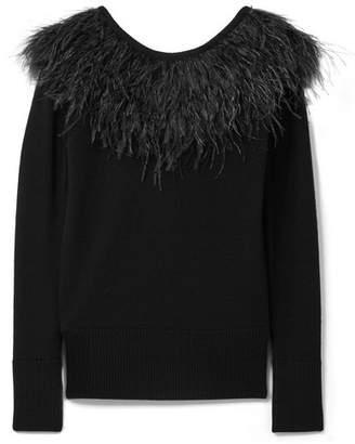 MICHAEL Michael Kors Feather-trimmed Merino Wool Sweater