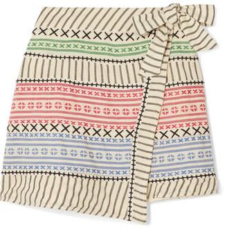 Dodo Bar Or Striped Cotton-gauze Wrap Mini Skirt