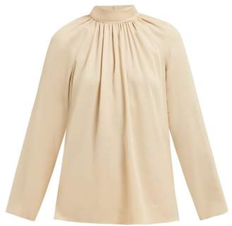 The Row Ella Gathered Silk Georgette Blouse - Womens - Beige