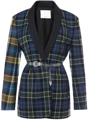Tibi Tartan Oversized Tuxedo Blazer with Belt in Blue Multi