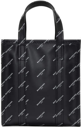 Balenciaga Black XS All Over Logo Bazar Shopper Tote