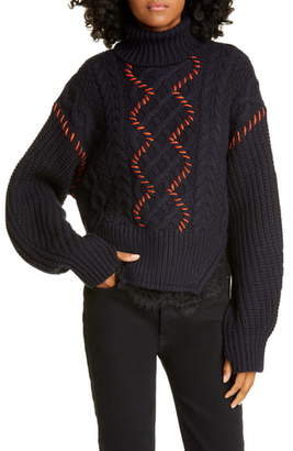 Self-Portrait Self Portrait Lace Trim Cable Knit Cotton & Wool Sweater