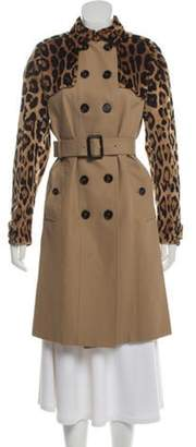 Burberry Mink-Trimmed Trench Coat w/ Tags Khaki Mink-Trimmed Trench Coat w/ Tags