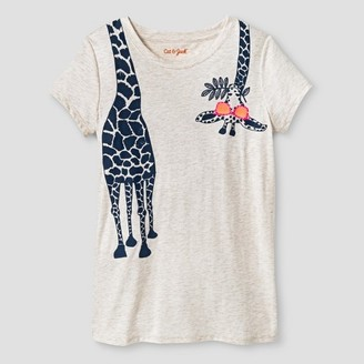 Cat & Jack Girls' Giraffe Graphic Tee Cat & Jack - Oatmeal $6 thestylecure.com