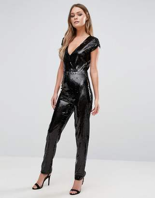 New Look Sequin Plunge Jumpsuit