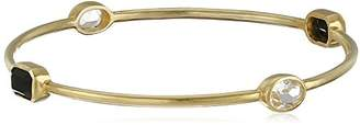 clear Sterling Silver with Yellow Gold Plating Jet and Crystal Bangle Bracelet