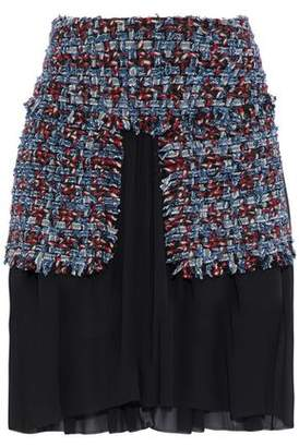 Sonia Rykiel Layered Cotton-Blend Tweed And Silk-Chiffon Skirt