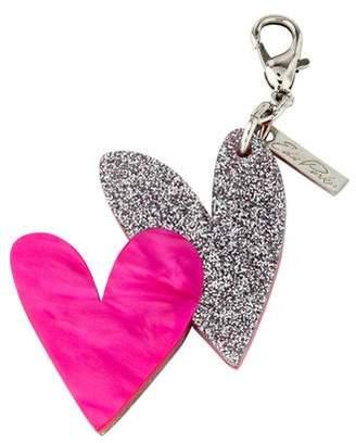 Edie Parker Glitter Hearts Keychain