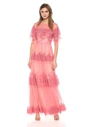 BCBGMAXAZRIA Azria Women's Floral Embroidered Tulle Maxi Dress