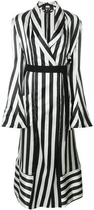 Ann Demeulemeester striped wrap-over coat