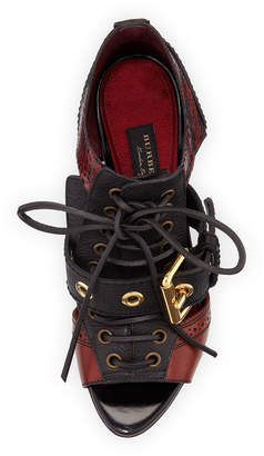 Burberry Mixed Media Buckle Sandals, Dark Red