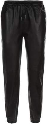 Saint Laurent Cropped Leather Sweatpants