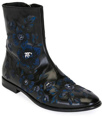 Alexander McQueen Men's Embroidered Leather Half-Boot