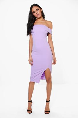 boohoo Anna Off The Shoulder Side Split Midi Dress $30 thestylecure.com