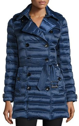 Burberry Chesterford Double-Breasted Midi Quilted Coat, Bright Navy $995 thestylecure.com