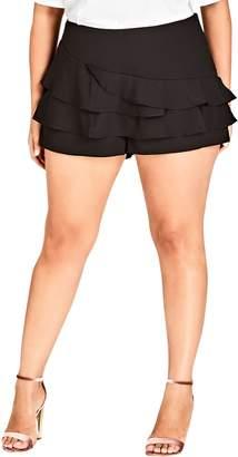 City Chic Short Fling Ruffle Shorts