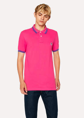 Paul Smith Men's Slim-Fit Pink Zebra Polo Shirt With Cobalt Blue Tipping