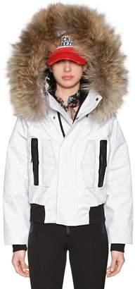 DSQUARED2 Hooded Nylon Ski Jacket W/ Fur Trim