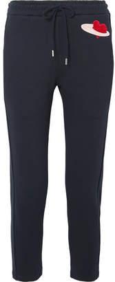 Markus Lupfer Daria Appliquéd Cotton-jersey Track Pants - Navy