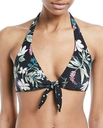 Kate Spade Reversible Floral-Print Polka-Dot Tie-Front Swim Top