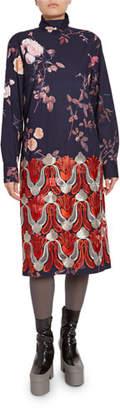 Dries Van Noten Embroidered Floral-Print Turtleneck Dress