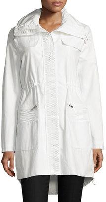 Elie Tahari Julia Mesh-Inset Anorak Jacket, Spring White $398 thestylecure.com