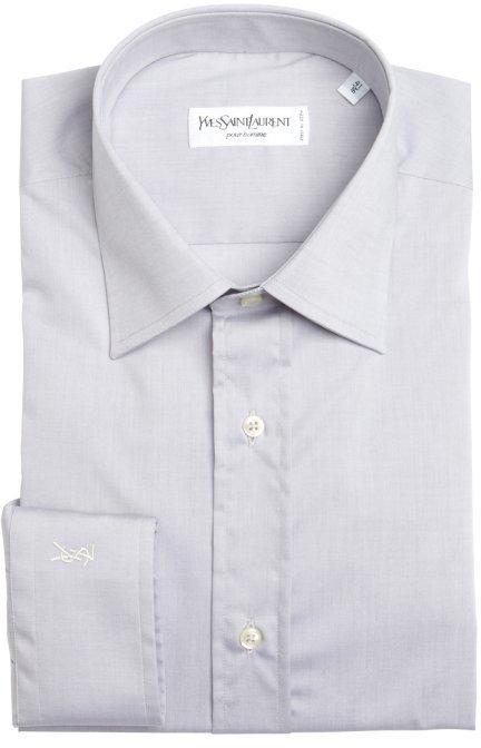 Yves Saint Laurent light grey cotton point collar dress shirt