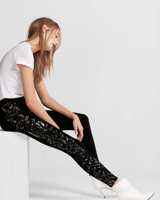 Express Mid Rise Velvet Sequin Panel Leggings