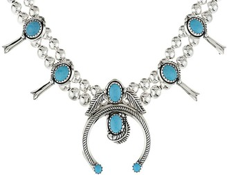 American West Sterling Turquoise Squash BlossomNecklace