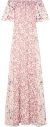 LoveShackFancy Evelyn Off-the-shoulder Floral-print Silk-georgette Maxi Dress - Pink
