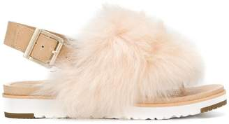 UGG fur appliqué sandals