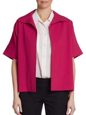 Josie Natori Wing-Collar Boxy Jacket