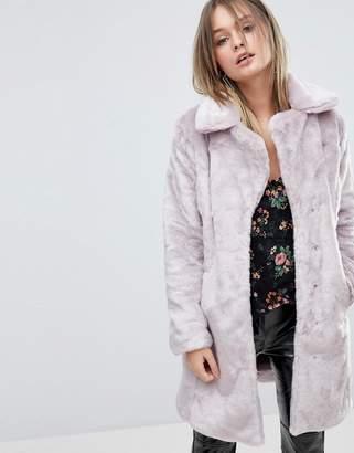 Miss Selfridge Crushed Faux Fur Coat