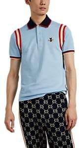 Gucci Men's Bee-Patch Cotton-Blend Piqué Polo Shirt - Blue