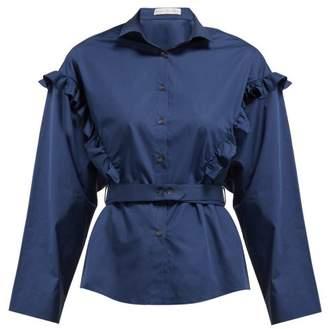 Palmer Harding Palmer//Harding Palmer//harding - Trap Ruffled Cotton Blend Poplin Shirt - Womens - Navy