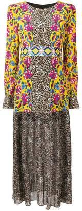 Saloni leopard tapestry maxi dress
