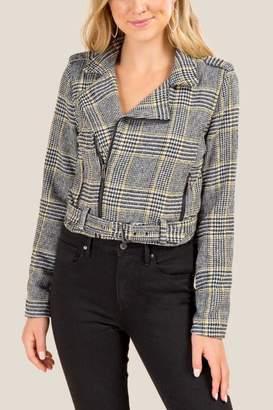 francesca's Keely Belted Plaid Moto Jacket - Gray