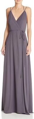 AQUA Double-Strap Wrap Gown - 100% Exclusive $198 thestylecure.com