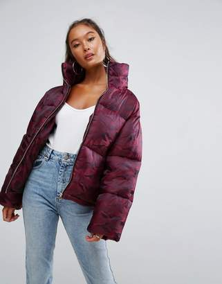 Asos Design Puffer Coat in Camo