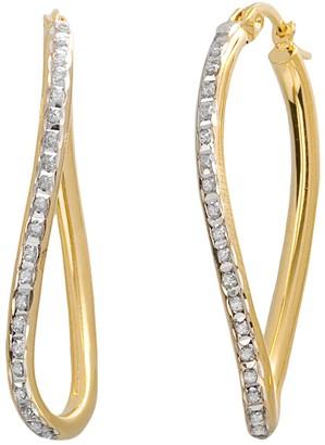 Mystique Diamond 18k Gold Over Silver Figure 8 Hoop Earrings