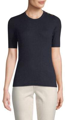 Tory Burch Taylor Short-Sleeve Cashmere Sweater